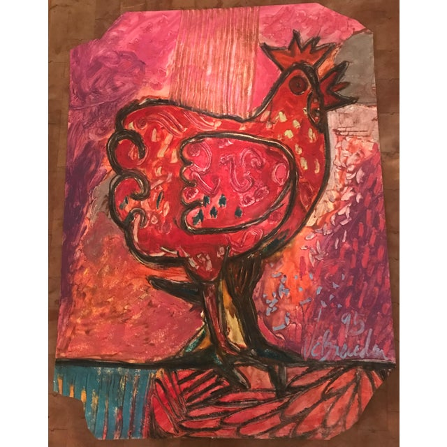 Wine 1995 Mixed Media Painting on Cotton Paper by Juan Carlos Breceda For Sale - Image 8 of 8