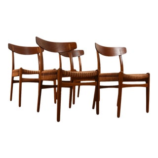 Hans Wegner Ch23 Dining Chairs — Teak Set of 4 With Rope Seats For Sale