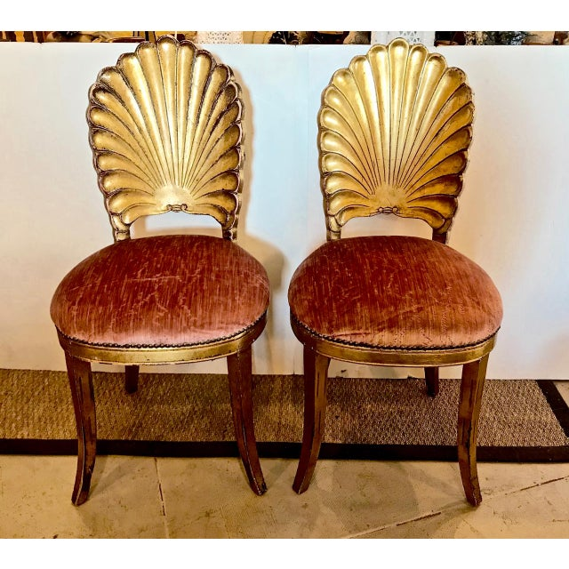 Gold Pair Gold Leafed Shell-Form Side Chairs For Sale - Image 8 of 8
