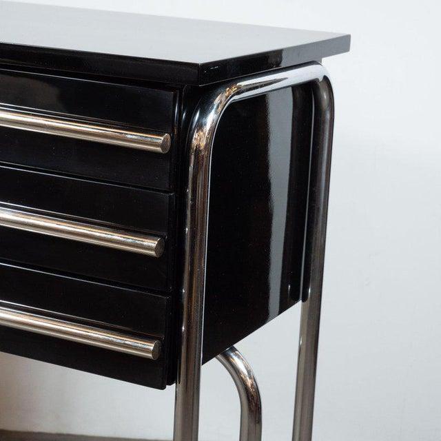 Chrome Art Deco Machine Age Chrome & Black Lacquer Writing Desk / Vanity For Sale - Image 7 of 11
