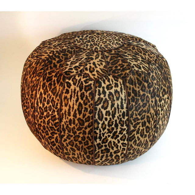 Jamie Young Leopard Print Cowhide Ottoman - Image 2 of 6