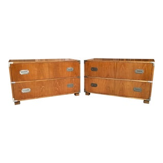 20th Century Campaign Baker Furniture Two-Drawer Dresser Cabinets - a Pair For Sale