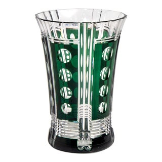 Bohemian Czech Crystal Glass Cut to Clear Emerald Green Vase For Sale