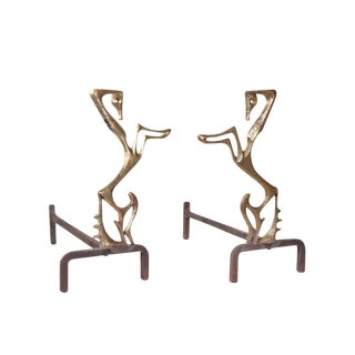 Rare Frederick Weinberg Horse Andirons For Sale