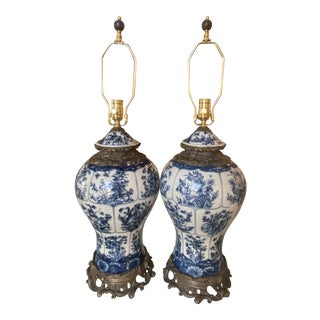 Vintage Large Blue & White Porcelain Ginger Jar Newly Wired Table Lamps -A Pair For Sale