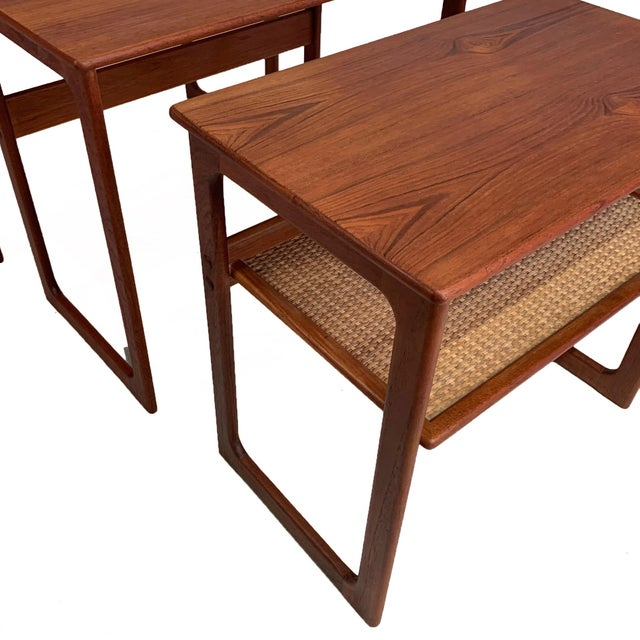 Vintage Danish Teak Nesting Tables With Cane Shelf For Sale - Image 4 of 7
