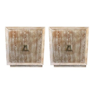Pair of Cerused Oak Cabinets Manner of James Mont For Sale