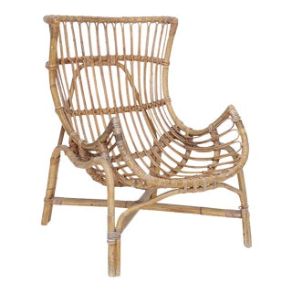 Italian Rattan Chair Designed by Gio Ponti for Bonacina For Sale