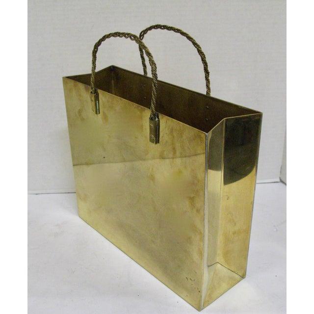 Hollywood Regency Circa 1970 Brass Shopping Bag - Image 4 of 7