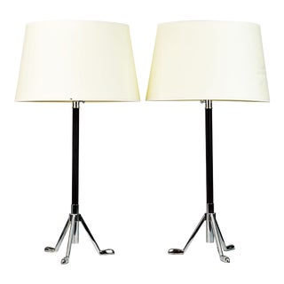 Pair of Modern Telescope Leather Wrapped Chrome Table Lamps For Sale