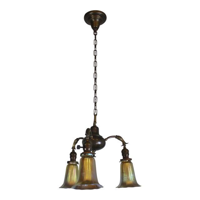 3 Light Art Nouveau Inspired Pendant For Sale