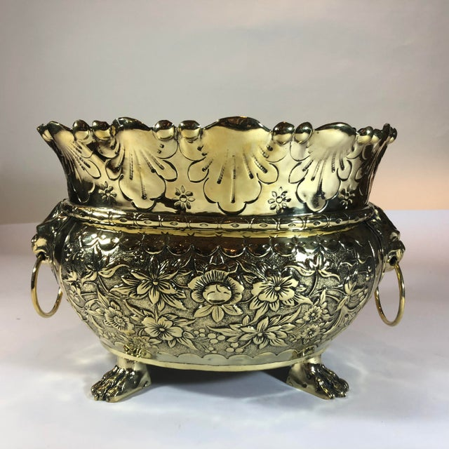 Traditional Antique Dutch Brass Repousse Jardiniere With High Sides, Circa 1860. For Sale - Image 3 of 3