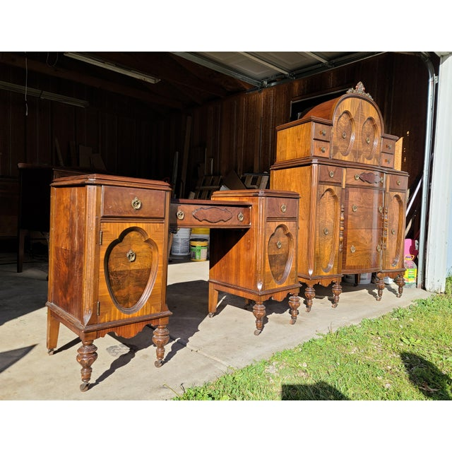 Antique Regency Burl Veneer Marquetry Console Table/ Vanity For Sale - Image 4 of 5