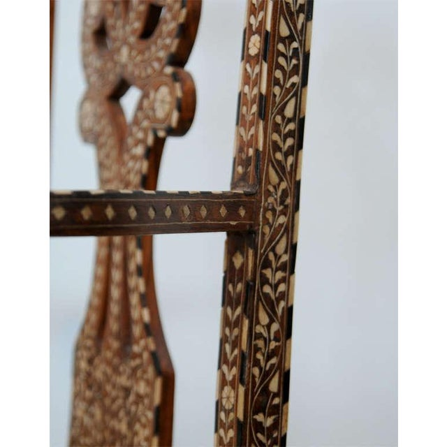 Anglo-Indian Rare Set of Four Anglo-Indian Hardwood and Bone Inlaid Armchairs For Sale - Image 3 of 11