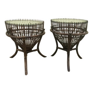 "Franco Albino Style Rattan ""Fish Trap"" Side Tables For Sale"