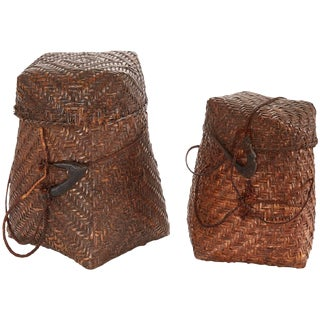Pair of 20th Century Woven Nigerian Baskets For Sale
