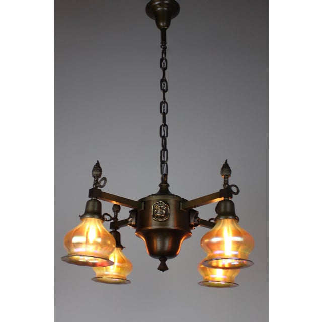 "Arts & Crafts ""Monk Head"" Fixture with Art Glass (4-Light) - Image 3 of 8"