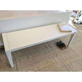 Mid-Century Bench in Off-White Lacquer and Special Satin Upholstery Preview