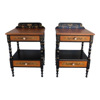 L Hitchcock Black Harvest Nightstands Accent Tables - a Pair For Sale