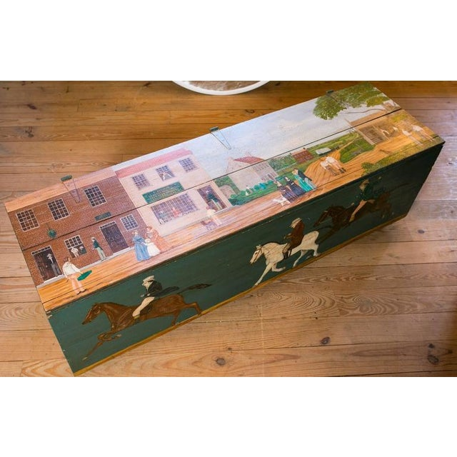 Blanket Chest with Equestrian Scene Hand-Painted by American Folk Artist Lew Hudnall For Sale - Image 5 of 8