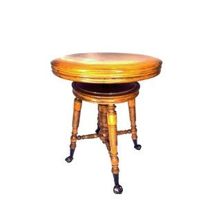 Late 19th Century Vintage Holtzman & Sons in America Adjustable Piano Stool For Sale