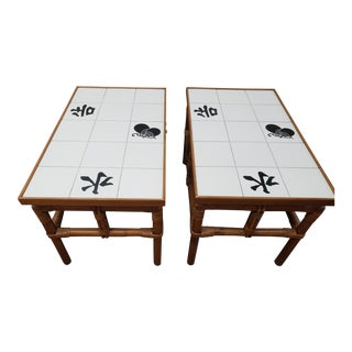 1950s Matching John Wisner Fricks Reed Co. Far Horizons Tile Top End Tables - a Pair For Sale
