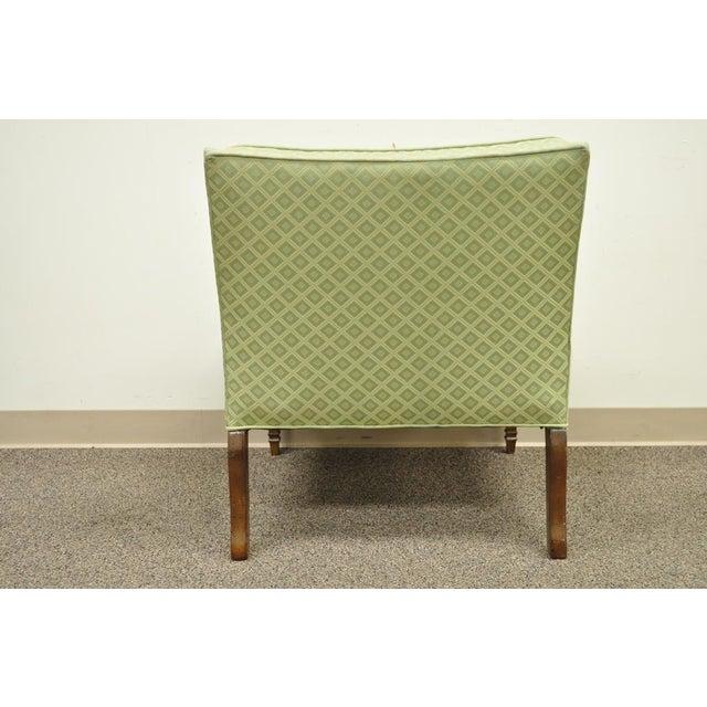 Hollywood Regency Green Upholstered & Wood Slipper Chair - Image 7 of 11