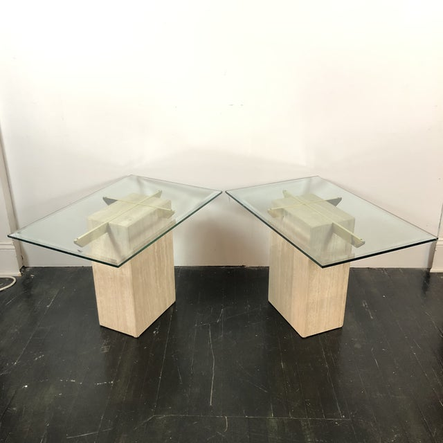 Vintage 1970s Italian Marble / Brass / Glass Side Tables by Artedi. Wonderfully transparent and timelessly modern!...