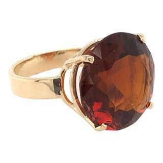 14k Gold Large Faceted Orange Garnet Ring For Sale