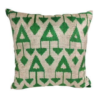 Hualapai Green and Beige Vintage Silk Velvet Pillow