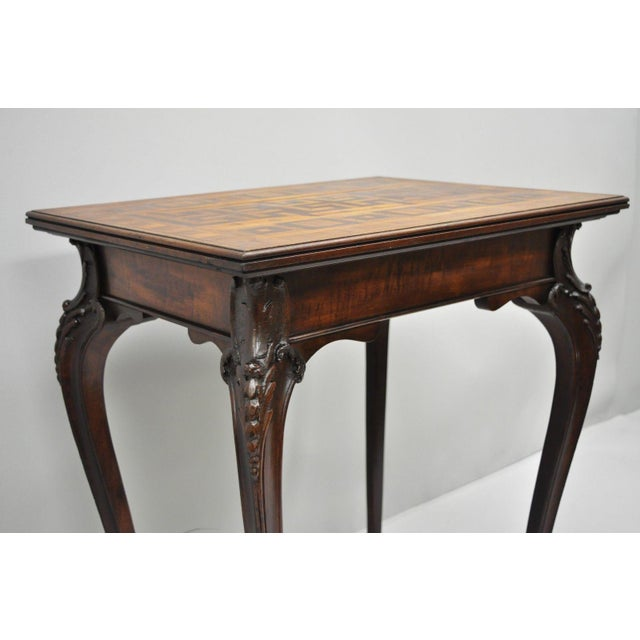 Antique Dutch Marquetry Inlaid French Louis XV Style Carved Walnut Side Table For Sale - Image 11 of 13