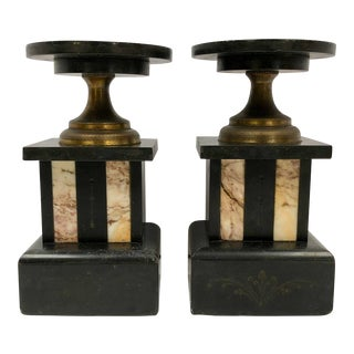 1930s Vintage Hollywood Regency Inlaid Marble Bookends - a Pair For Sale