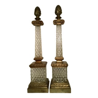 Crystal and Brass Obelisks- A Pair For Sale