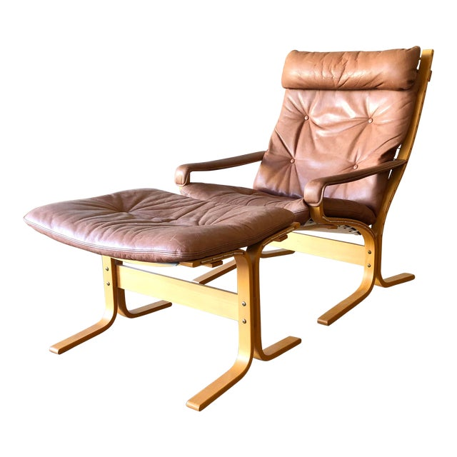 Ingmar Relling for Westnofa Mid-Century Modern Leather Siesta Chair With Ottoman For Sale