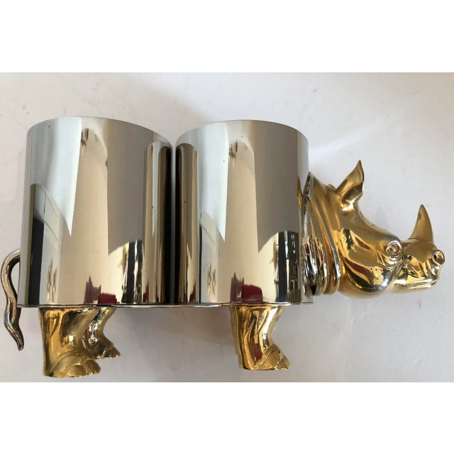 Brass Italian Hollywood Regency Rhinoceros Double Bottle Cooler / Holder For Sale - Image 7 of 11