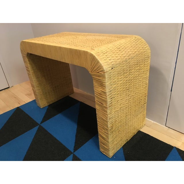 Mid-Century Modern Minimalist Coastal-Style Rattan Console Table For Sale - Image 3 of 12