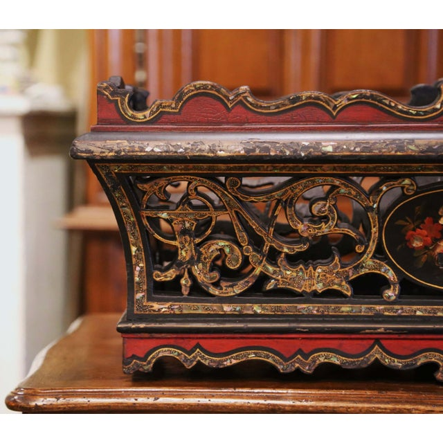 19th Century French Napoleon III Mother of Pearl and Painted Jardinière For Sale - Image 4 of 13