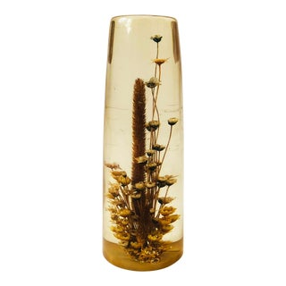 Vintage Resin Dried Flower Paperweight For Sale