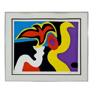 Mid Century Modern Framed Abstract Silkscreen William Scharf 18/150 Signed Red For Sale
