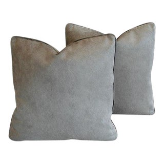 "Gray Italian Cowhide & Scalamandre Velvet Feather/Down Pillows 22"" Square - Pair"