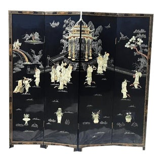 Antique Ivory Mother of Pearl Coromandel Four Panel Screen For Sale