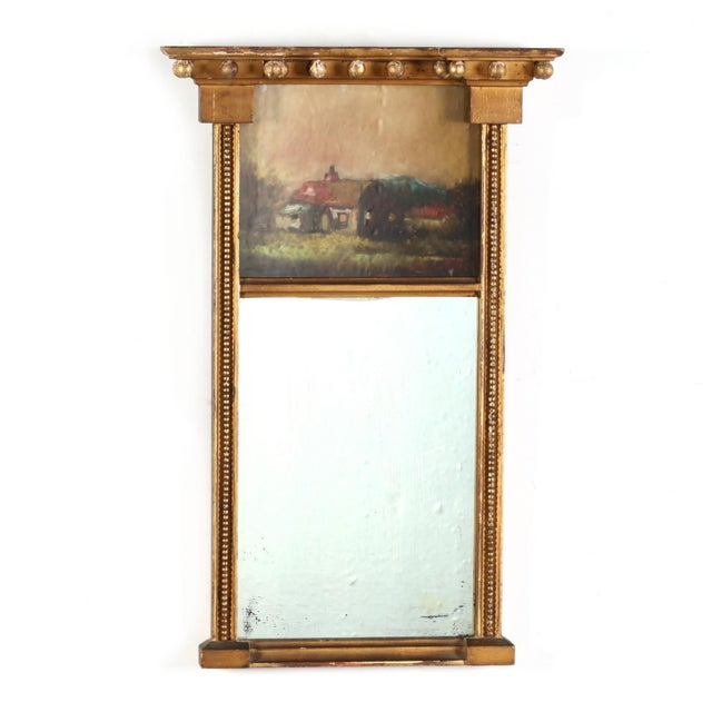 Federal Rare 1800's Federal Looking Glass Verre Églomisé For Sale - Image 3 of 3
