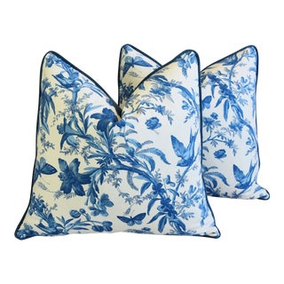 "P. Kaufmann Blue & White Aviary Bird Toile Feather/Down Pillows 24"" Square - Pair For Sale"