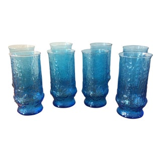 Vintage Pressed Blue Iced Tea Glasses - Set of 8 For Sale