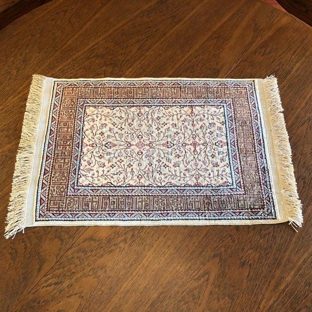 Silk on Silk Small Turkish Kayseri Handmade Rug For Sale - Image 13 of 13
