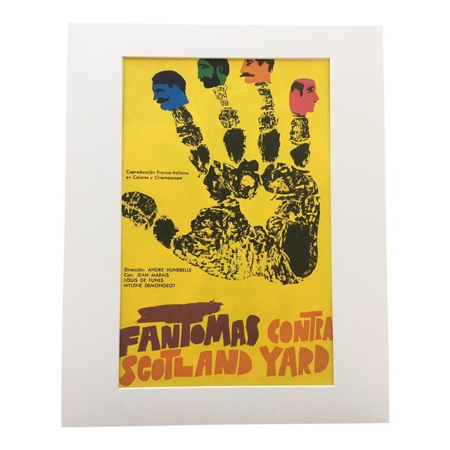 """1970s Vintage """"Fantomas Contra Scotland Yard"""" French/Italian Film Poster Print For Sale"""
