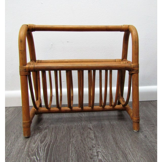 1980s Vintage Bent Bamboo Handled Magazine Rack For Sale - Image 5 of 5