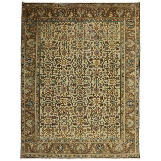 """Vintage Persian Tabriz Art Deco Style Rug - 9'8"""" X 12'7"""" For Sale In Dallas - Image 6 of 6"""