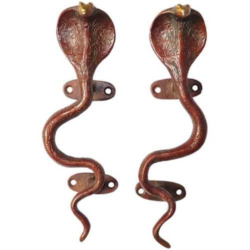 Red Brass Cobra Door Handles - a Pair For Sale - Image 4 of 4