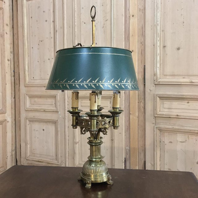 Antique French Art Deco Period Bronze Bouillote Lamp With Shade For Sale - Image 4 of 11